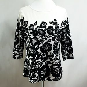 Isaac Mizrahi Live Womens Top Floral Stretchy Med